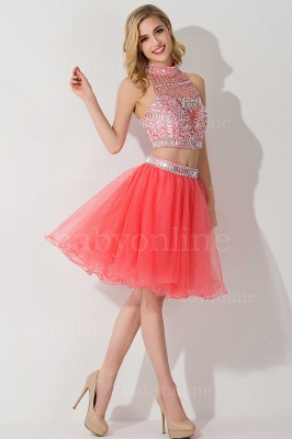 ELISE | Two-piece Halter Sleeveless Short Tulle Prom Dresses with Crystal Beads_14