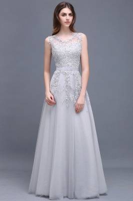 ADDILYN | A-line Floor-length Tulle Prom Dress with Appliques_10