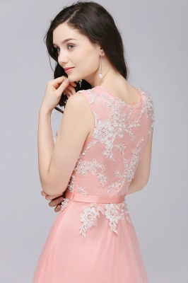 CARLY   A-line Jewel Neck Long Tulle Pink Prom Dresses with Sash_8