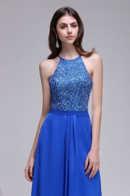 CALLIE | A-line Halter Neck Chiffon Royal Blue Prom Dresses with Sequins_5