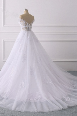 Off-the-Shoulder Sleeveless Tulle Lace Wedding Dresses_4
