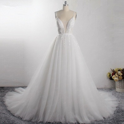 A-Line Deep-V-Neck Sleeveless Tulle Wedding Dresses_4