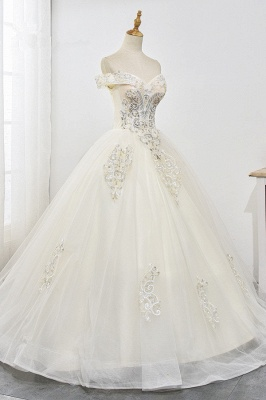 Champagne Tulle Ball Gown Lace Wedding Dresses Sleeveless_4