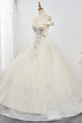Champagne Tulle Ball Gown Lace Wedding Dresses Sleeveless_3