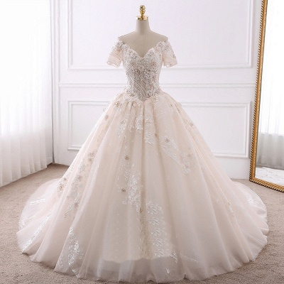 Ball Gown V-Neck Tulle Beadings Short Sleeves Bridal Gowns_6