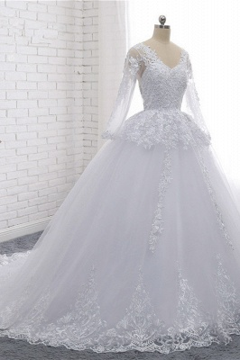 Long Sleeves Tulle Lace Ball Gown V-Neck Sequins Wedding Dress_3