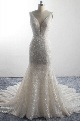 Sparkly Sequins Sleeveless Mermaid Long Bridal Gowns_1