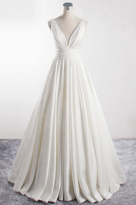 V-neck Satin Sleeveless White Wedding Dresses
