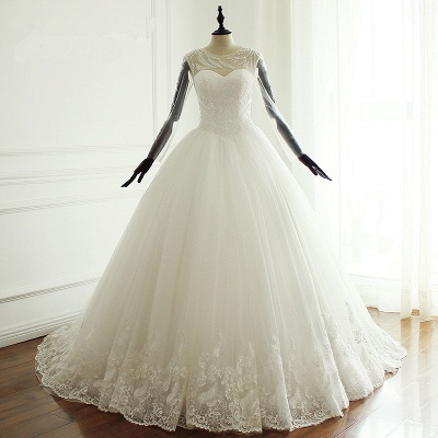 Jewel Long Sleeves Pearls Lace Tulle Wedding Dresses_5