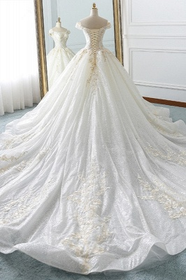 Sequined Off-the-Shoulder Ball Gown Sweetheart Wedding Dresses_2