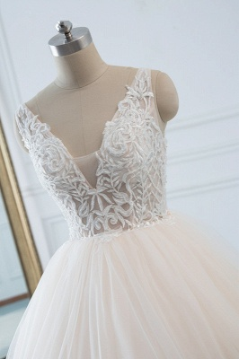 White Sleeveless Lace Top Tulle Wedding Dresses_4