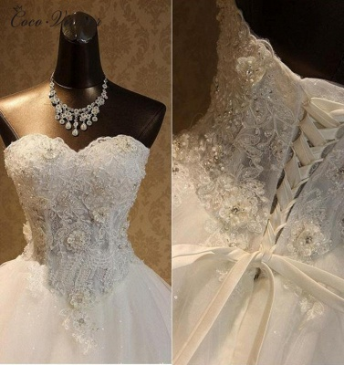 Strapless Tulle Sequined Ball Gown Wedding Dresses_3