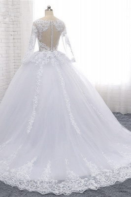 Long Sleeves Tulle Lace Ball Gown V-Neck Sequins Wedding Dress_4
