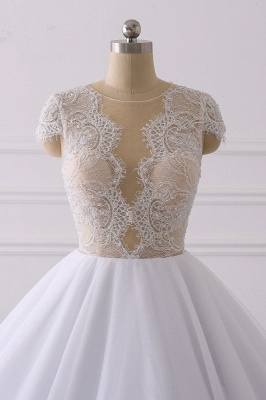 Jewel Tulle Ruffles LaceShort-Sleeves Bridal Gowns_4