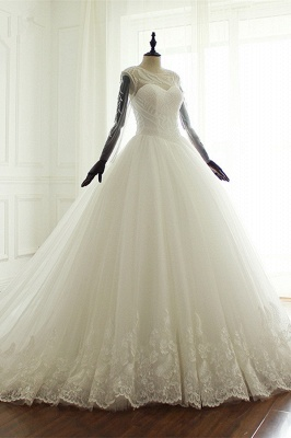 Jewel Long Sleeves Pearls Lace Tulle Wedding Dresses_3