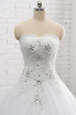 A-Line Lace Appliques Sleeveless Tulle Rhinestones Wedding Dresses_5