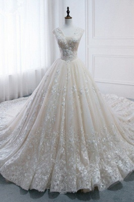 Tulle Lace Appliques V-Neck Pearls Sleeveless Wedding Dresses_1