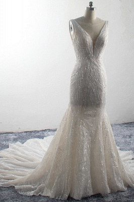 Sparkly Sequins Sleeveless Mermaid Long Bridal Gowns_3