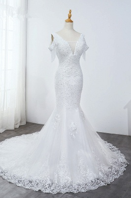 Sequined White Mermaid Lace White Wedding Dresses_3