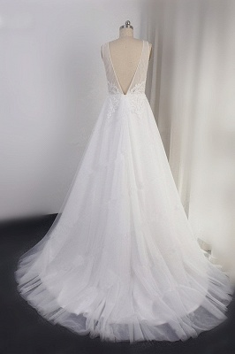 A-Line Lace V-neck Tulle White Wedding Dresses_2