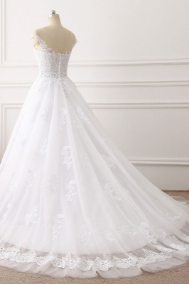 Jewel Sleeveless Tulle Lace White Wedding Dresses_4