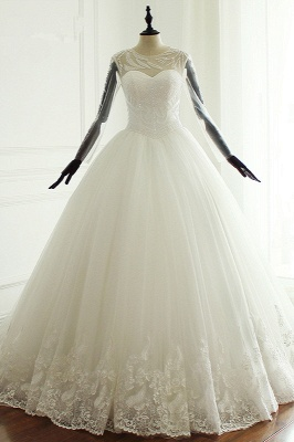 Jewel Long Sleeves Pearls Lace Tulle Wedding Dresses_1