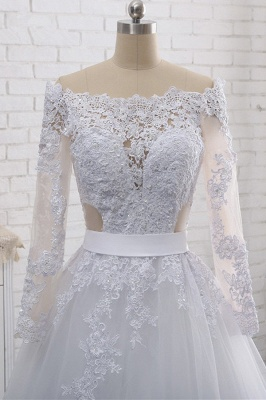 Off-the-Shoulder Long Sleeves Lace Tulle Wedding Dresses_5