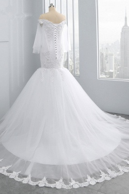 Off-the-Shoulder White Mermaid Lace Sweetheart Tulle Wedding Dresses_4
