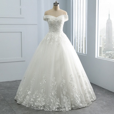 Off-the-Shoulder Tulle Appliques Sleeveless Lace Bridal Gowns_5