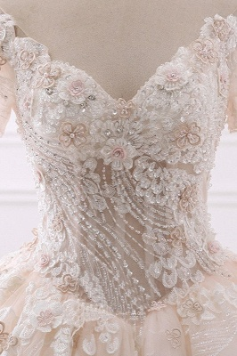 Ball Gown V-Neck Tulle Beadings Short Sleeves Bridal Gowns_5