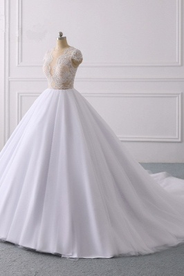 Jewel Tulle Ruffles LaceShort-Sleeves Bridal Gowns_3