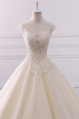 Jewel Lace Appliques Sleeveless Beadings Wedding Dresses_3