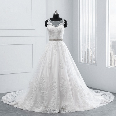 A-Line Appliques Beadings Tulle Lace Wedding Dresses_7