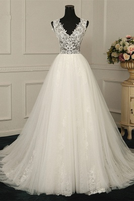 See Through V-Neck Sleeveless Tulle Wedding Dresses