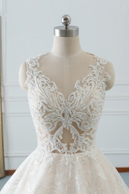 A-Line Jewel White Tulle Lace Bridal Gowns Online_5