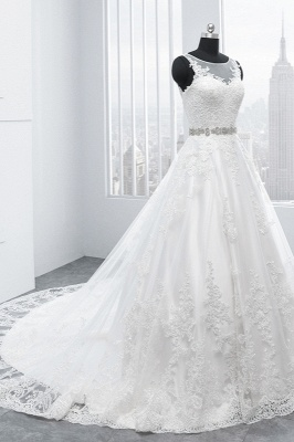 A-Line Appliques Beadings Tulle Lace Wedding Dresses_3