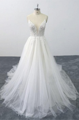 V-Neck Ruffles Straps Tulle Lace Wedding Dresses