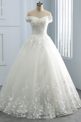 Off-the-Shoulder Tulle Appliques Sleeveless Lace Bridal Gowns_1