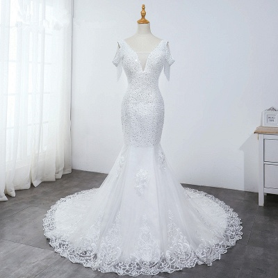 Sequined White Mermaid Lace White Wedding Dresses_6