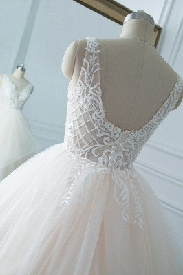 White Sleeveless Lace Top Tulle Wedding Dresses_5