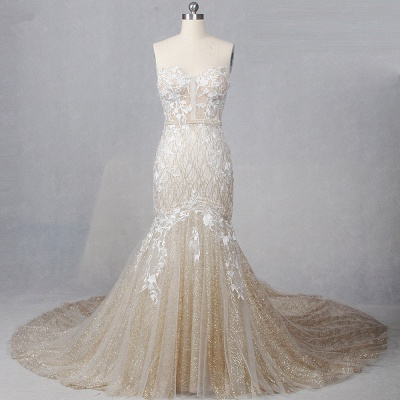 Straplees Pink Sequined Appliques Sleeveless Bridal Gowns_4