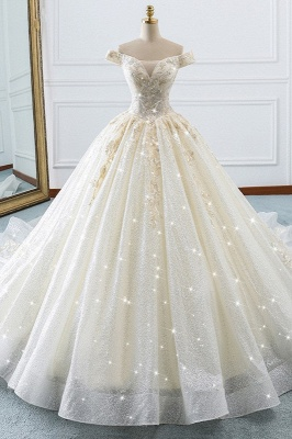 Sequined Off-the-Shoulder Ball Gown Sweetheart Wedding Dresses_1