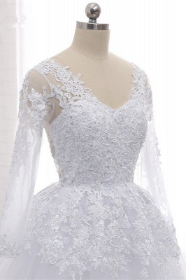 Long Sleeves Tulle Lace Ball Gown V-Neck Sequins Wedding Dress_6