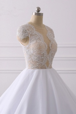 Jewel Tulle Ruffles LaceShort-Sleeves Bridal Gowns_5