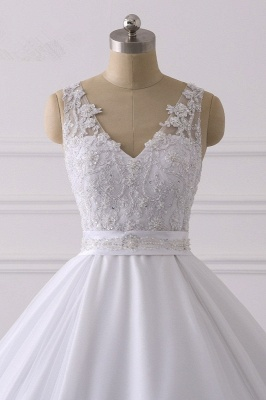 V-Neck Satin Tulle Lace White Sleeveless Bridal Gowns_4