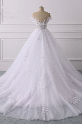 Off-the-Shoulder Sleeveless Tulle Lace Wedding Dresses_2