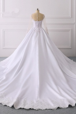 Satin Tulle Long Sleeves Ruffles Lace Bridal Gowns Online_2