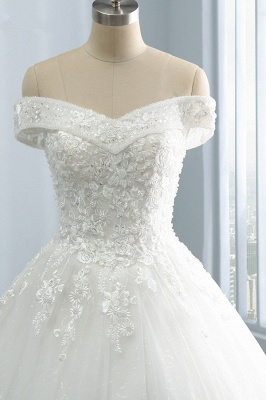 Off-the-Shoulder Tulle Appliques Sleeveless Lace Bridal Gowns_3