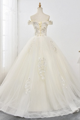 Champagne Tulle Ball Gown Lace Wedding Dresses Sleeveless_2