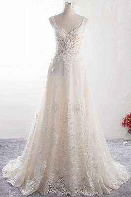 Straps Sleeveless Sweetheart Tulle Wedding Dresses